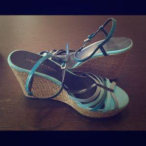 Shoes - Blue strap wedges. Sz. 9
