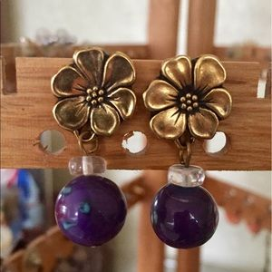 Jewelry - Purple and gold drop earrings