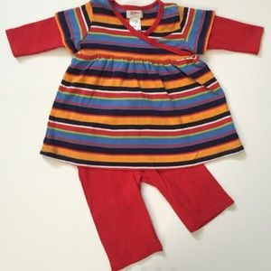 Zutano Other - Zutano Multicolored striped top with red pants
