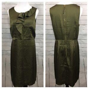 LOFT Dresses & Skirts - Ann Taylor loft green sleeveless dress ruffle