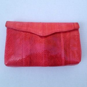 Magnum Handbags - Hot pink genuine snakeskin clutch