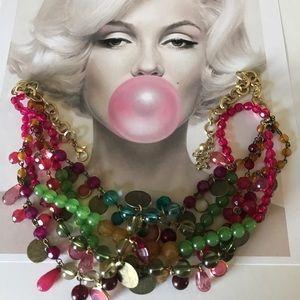 Vintage Jewelry - Bohemian festival vintage glass colorful necklace
