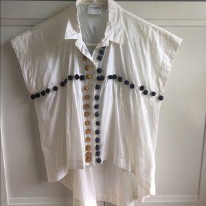ASOS Tops - Button down Pom Pom blouse