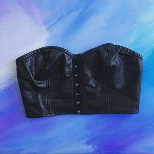 UO | Sparkle & Fade • Leather Bra Crop Top