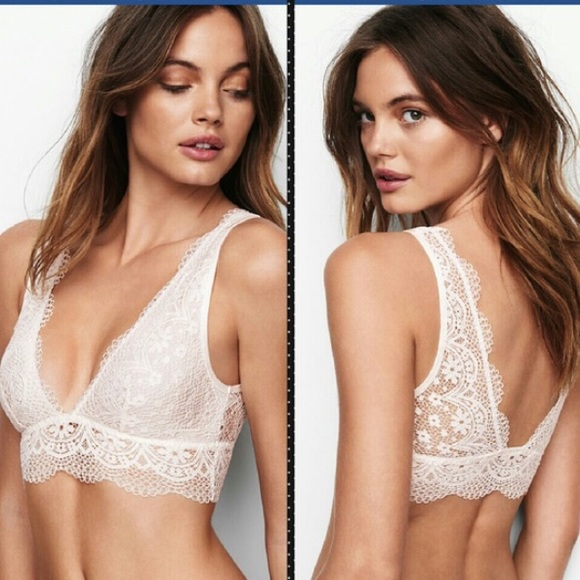 c2b9b3ad216 Victoria Secret Long Line Plunge Bralette White