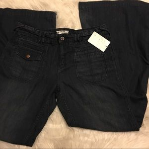 Free People Denim - Free People Indigo Dark Wash Wideleg Jeans