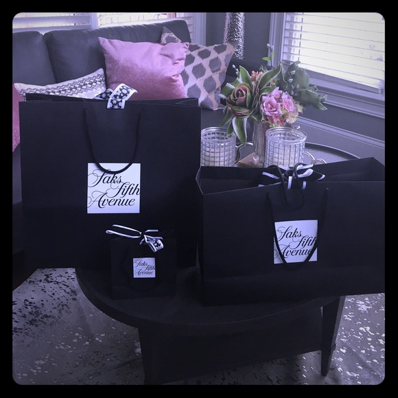 3 Saks Fifth Ave Shopping Bags Lux Closet Decor