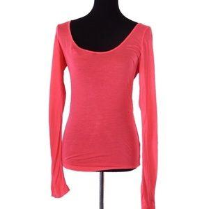 Nike Hot Pink Scoop Neck Long Sleeve Tee Large