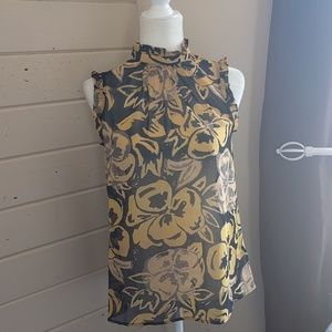 Who What Wear Tops - Who What Wear black and yellow sheer  top