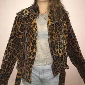 Tripp nyc Jackets & Blazers - Vintage cheetah velvet motorcycle jacket. Size M