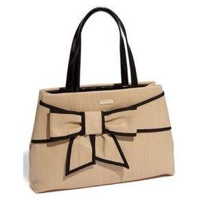 kate spade Handbags - {HP} Straw bow purse tote tan sand black patent
