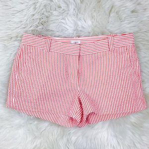 "J. Crew Pants - J. Crew Pink White 3"" Seersucker Shorts"