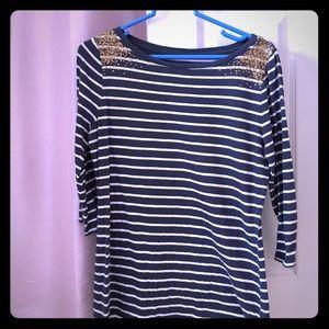 Merona Navy/White 3/4 Sleeve Shirt