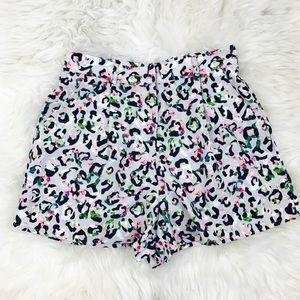 Topshop Leopard Print High Waist Shorts