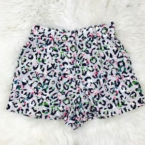 Topshop Pants - Topshop Leopard Print High Waist Shorts