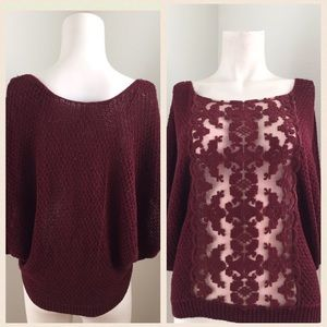 Free People Tops - Free People Burgandy Top With Mesh