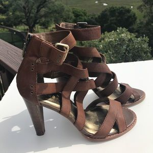 BCBGirls Shoes - BCBGirls Esther Brown Leather Sandals Heels 8