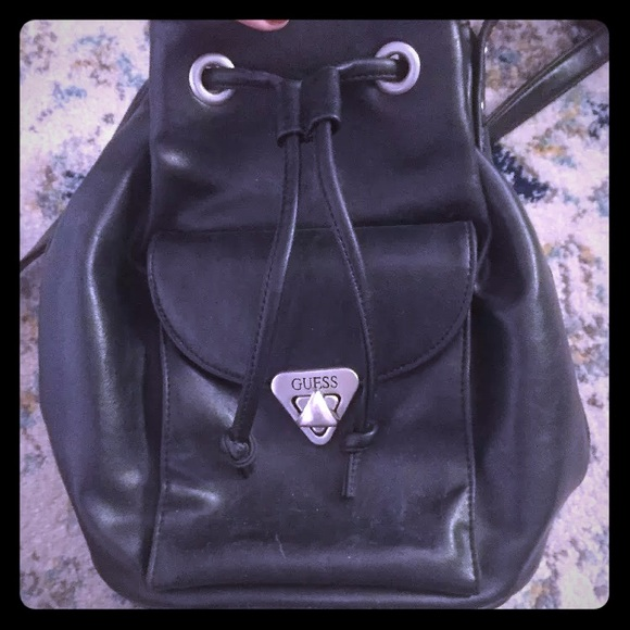 Guess Bags   Vintage Jeans Black Leather Bucket Bag Purse   Poshmark 892e7a6e83