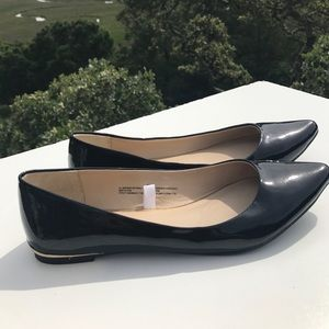 Mossimo Supply Co Shoes - Black Patent Pointy Toe Ballet Flats with Gold 9.5
