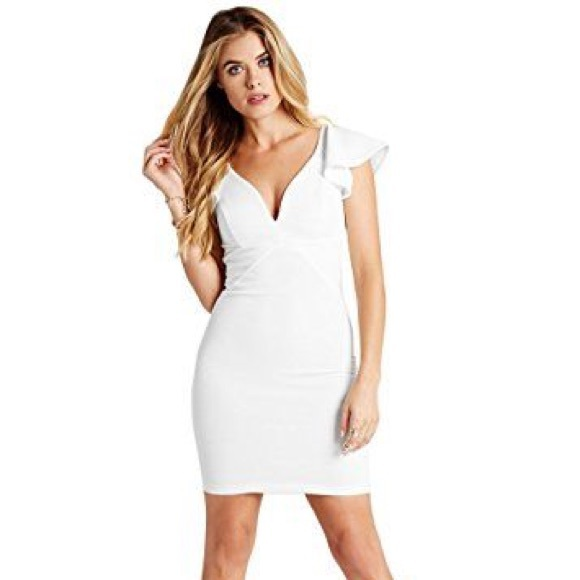 b0c36ca51f9 Guess Dresses   Skirts - Guess ruffled ottoman plunge bodycon dress white