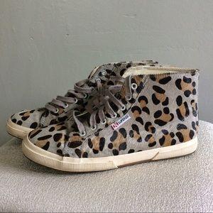 Superga Shoes - Superga Leopard Calf Pony Hair Hi Top Sneakers