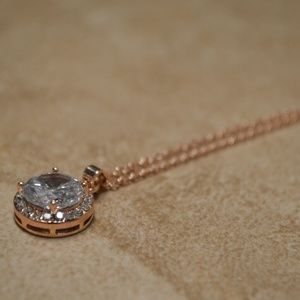 Jewelry - Brand New Rose Gold Pave Crystal Necklace