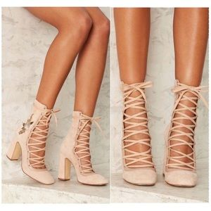 Chinese Laundry lace up Sylvia Suede Booties pink
