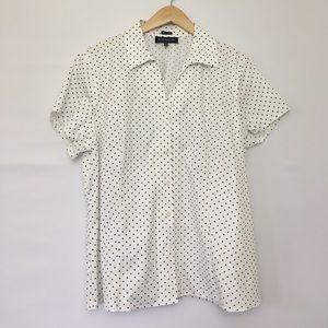 Jones New York Tops - JNY Non-Iron Polkadot Shirt