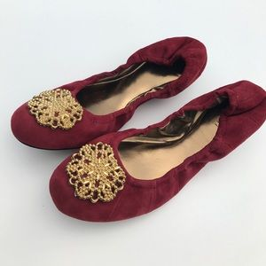 Tahari Shoes - Tahari Valerie Red Suede Flats with Gold Trim 9.5