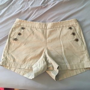 J Crew tan side zip shorts with buttons