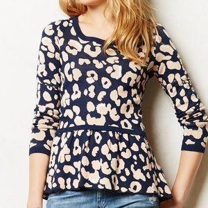 Anthropologie Sweaters - Moth Blue Leopard Peplum Sweater