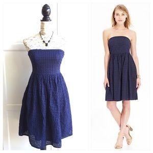 Old Navy Dresses & Skirts - 💥Old Navy Blue Eyelet Strapless Dress