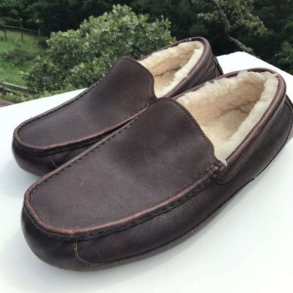 6c212c55f93 Ugg Ascot Mens Brown Leather Shearling Slippers 15