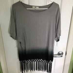 Gray ombré fringe shirt