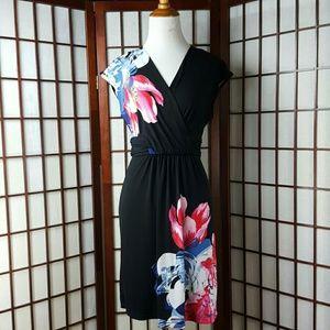 T Tahari Dresses & Skirts - Floral Black T TAHARI Empire Waist Dress Size XS