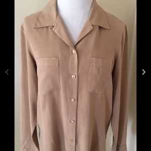 Anna and Frank Tops - Anna and Frank Beige Silk Blouse sz M