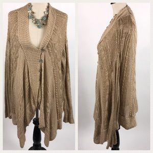 Free People Oversized Button Up Tan Knit Sweater