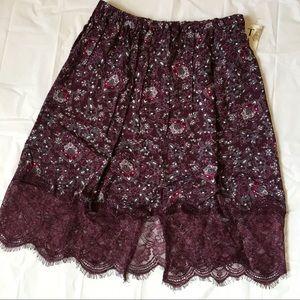 Tanzara Dresses & Skirts - BRAND NEW Plum Floral Lace Hem Skirt Lightweight