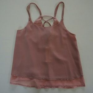 Sans Souci Tops - SANS SOUCI BLUSH LACE UP TANK TOP CAMISOLE
