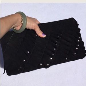 Black suede leather clutch