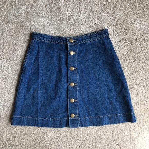american apparel american apparel denim button up skirt
