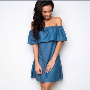 Vogue Vice Dresses & Skirts - NWT denim cold shoulder mini dress (XS, S, M)