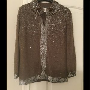 J. Crew brown cashmere sequined cardigan. Size S.