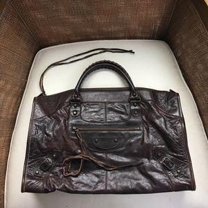 Authentic EUC Balenciaga brown city satchel