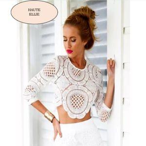Haute Ellie Tops - Brando Crochet Zipper Back Top