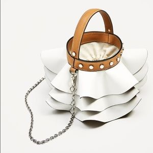 Zara bucket bag with frills -- beautiful & unique