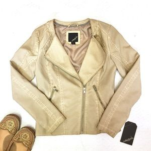 Collection B Jackets & Blazers - Beige Moto Jacket New With Tags!