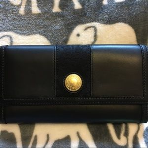 Coach Handbags - Coach Leather Wallet With Signature Stripe