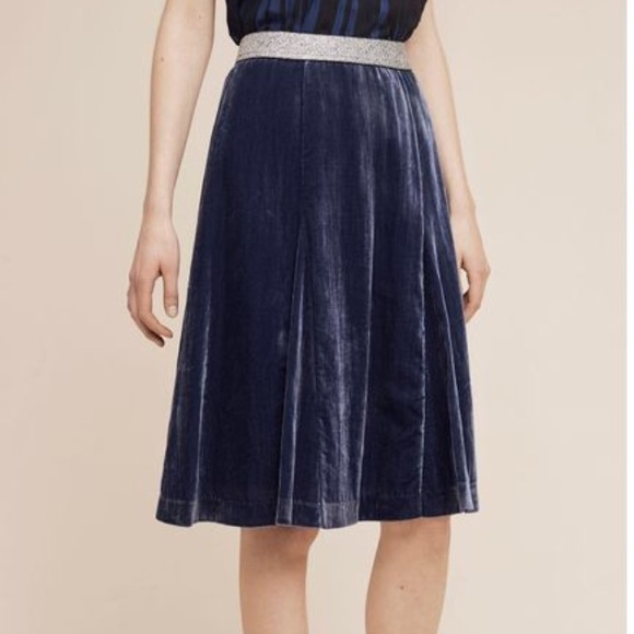 Anthropologie Skirts - Anthropologie Maeve Blue Velvet skirt size 6