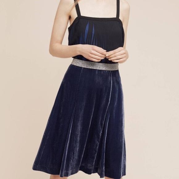 Anthropologie Skirts - Anthropologie Maeve Blue Velvet skirt size 6